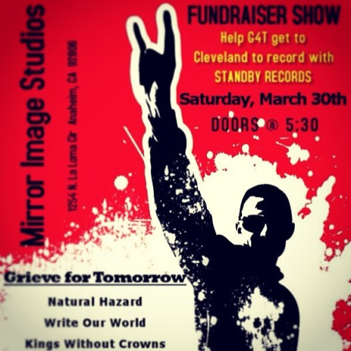 Fundraiser Show March 30th at Mirror Image Studio in Anaheim, Ca! Awesome bands, $10 tickets, All Ages, starts at 530! #bands #amazing #tickets #G4T #bandoftheweek #picoftheday #pheed #outrivalclothing