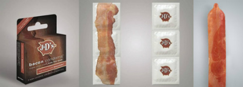 Bacon Related Update: Bacon Condoms Yes, some horny bacon fan may have finally crossed the line. Cue the pork and hog jokes.