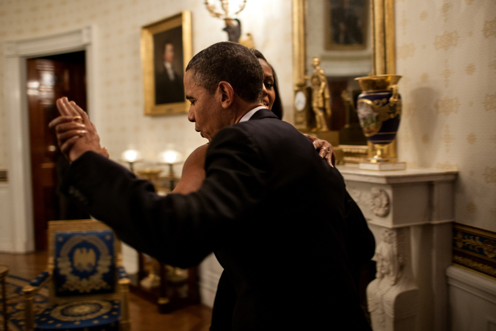 "President Barack Obama dances with First Lady Michelle Obama in the Blue Room of the White House prior to an ""In Performance at the White House"" series concert honoring songwriters Burt Bacharach and Hal David, May 9, 2012. During the concert the President presented Bacharach and Eunice David, on behalf of her husband, with the Library of Congress Gershwin Prize for Popular Song. (Official White House Photo by Pete Souza) Most iconic Pete Souza photos of Obama family's first 4 years in the White House"