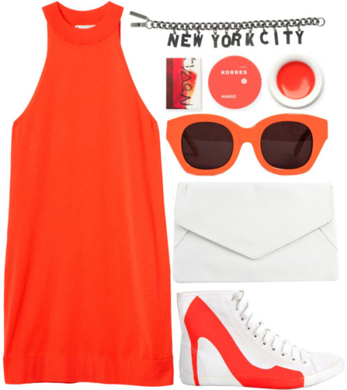 Clockwork. by kate-margo featuring orange sunglasses ❤ liked on PolyvoreMonki , $23 / Be & D orange sneaker / Rut Circle clutch, $18 / Eddie Borgo  bracelet / Karen Walker Eyewear orange sunglasses / Korres , $6.96 / Korres beauty product, $6.96