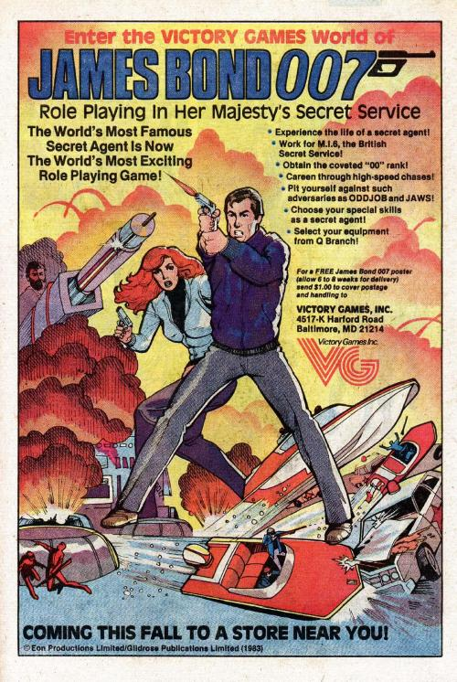 obsessivecomicdisorder:  James Bond - Roleplaying Game Advertisement 1983  The Bond is from For Your Eyes Only, the speedboats are from Live and Let Die, the laser gun and explosion are from The Man With The Golden Gun, and the girl is, for some reason, Dr Beverly Crusher.