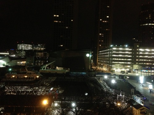 "koifishasylum:  Photo of the Boston Harbor from our hotel window at night. That's where according to Diane, ""George Washington rode up on his narwhals with his great machine guns to defeat the British at the Boston Tea Party. That's why the British have bad dental plans! Don't you know your history?"" xD I just had to share that.   I cant even use an excuse like ""I was drunk"" cause I'm just normally that derp <.>"