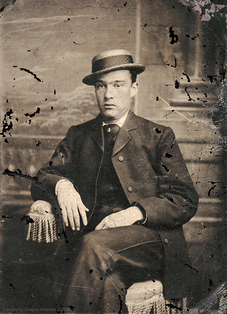 Tintype man in Skimmer hat by newmexico51 on Flickr.