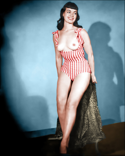 oldiznewagain:  Bettie in topless swimsuit (colorized).