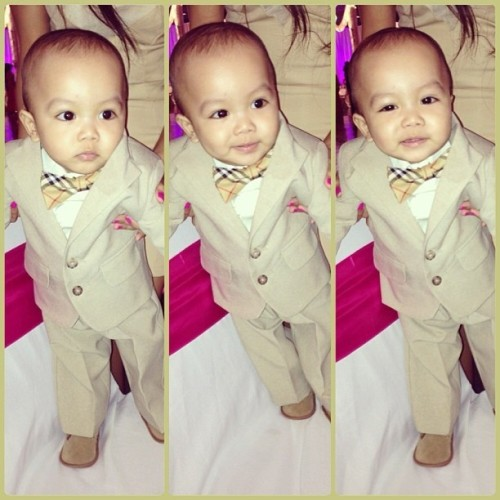 """As long as I got my suit and tie"" My handsome little monster 😍"