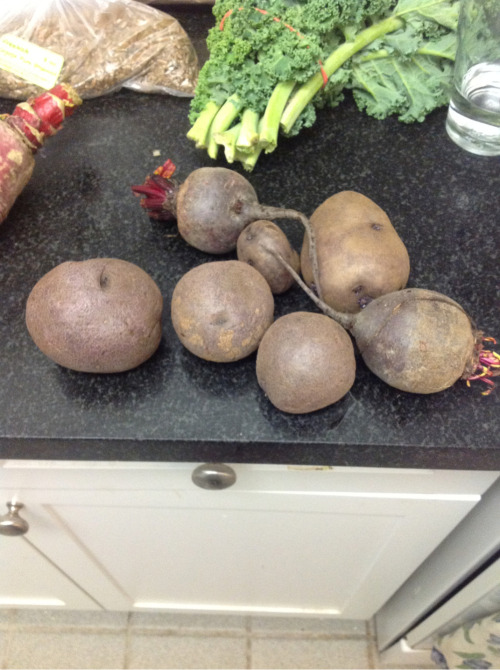 A few lovely beets and potatoes from next Door Organics- never been a fan of root veggies but cheers to an attempt