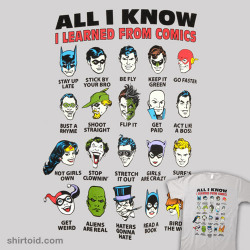 shirtoid:  Learned From Comics is available at 80sTees