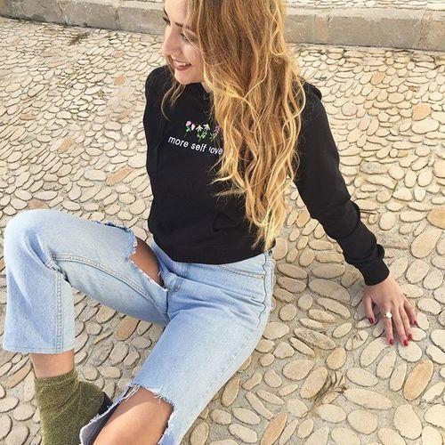 yeahbunny sweatshirt black more self love floral blonde awesome