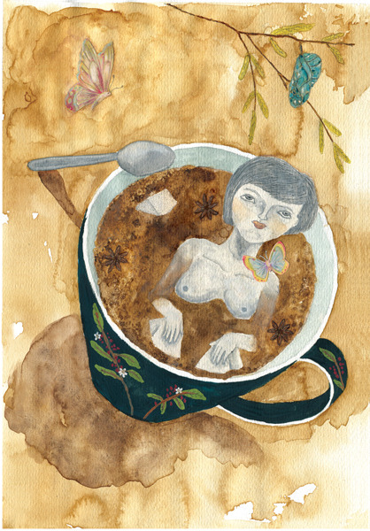 Illustration for a collaborative project about coffee and is organized by IlustraTé/Silvana Ávila with participation of most of the girls who have taken the workshop. —- Ilustración para un proyecto colaborativo sobre café y es organizado por IlustraTé/Silvana Ávila con la participación de varias de las chicas que han tomado dicho taller.