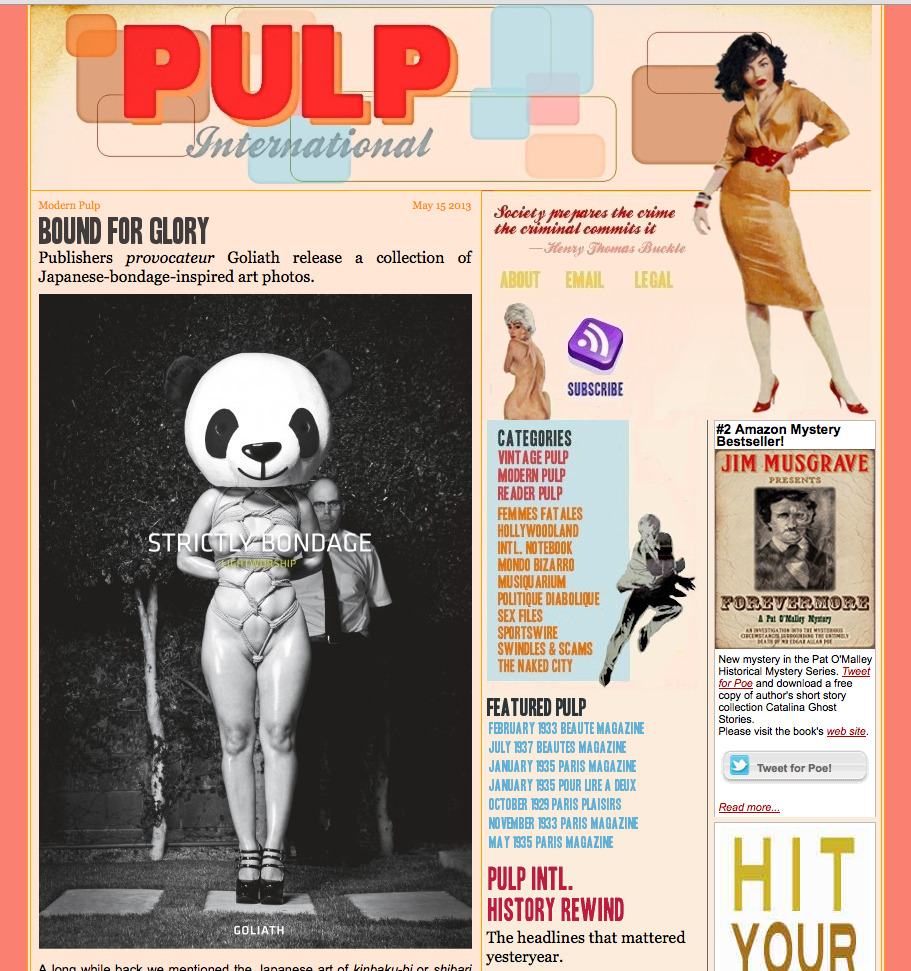 "Check out the first review of my book Strictly Bondage on Pulp International! ""Lightworship has been at this for thirty years, even studying kinbaku-bi under a rope master, so the sharpness and cohesion of this collection is no surprise, nor is the fact that he can walk a tightrope between the disturbing and erotic so deftly."""