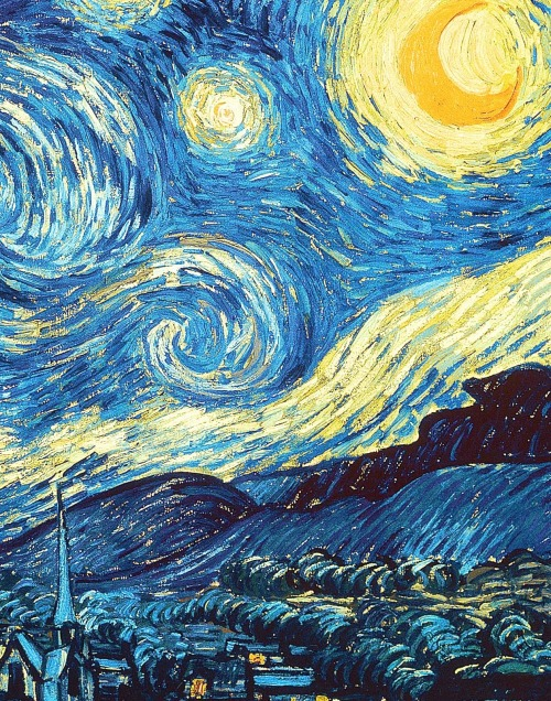 "Detail of Vincent van Gogh's The starry night (1889)  ""Looking at the stars always makes me dream. Why, I ask myself, shouldn't the shining dots of the sky be as accessible as the black dots on the map of France? Just as we take the train to get to Tarascon or Rouen, we take death to reach a star."""