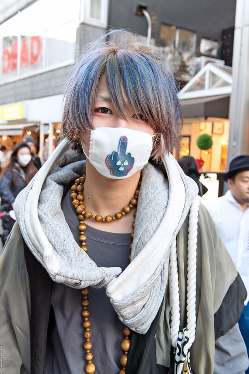 tokyo-fashion:  Cool Harajuku guy w/ blue-green hair & matching mask.