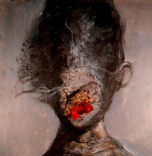 red-lipstick:  Eric Lacombe (France) - CA0008, 2011                 Paintings:                           Acrylics, Ink, Posca on Paper     http://monstror.blogspot.com/