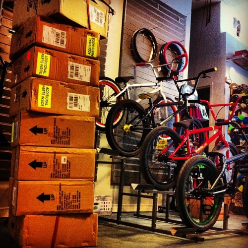 ideal-bike:  Just got a whack of bikes and parts from @1664distro #encorebmx #bmx #bmxlife #bikeshop
