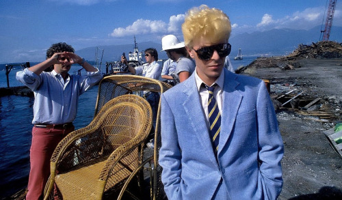 David Bowie filming The Serious Moonlight video 1983. By Denis O'Regan.