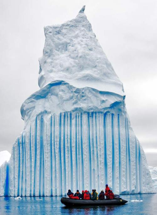 "mindsplat:  ""Blue stripes are often created when a crevice in the ice sheet fills up with meltwater and freezes so quickly that no bubbles form.""  Photo by Oyvind Tagen."
