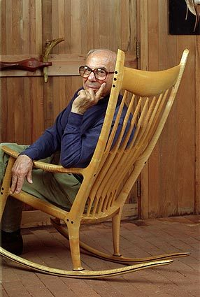 From top: Sam Maloof, circa 1972; Maloof's workshop, photo by Michael Stone; spindle-back chair, 1955, photo by Jonathan Pollock; from Craft Horizons, 1954; ...