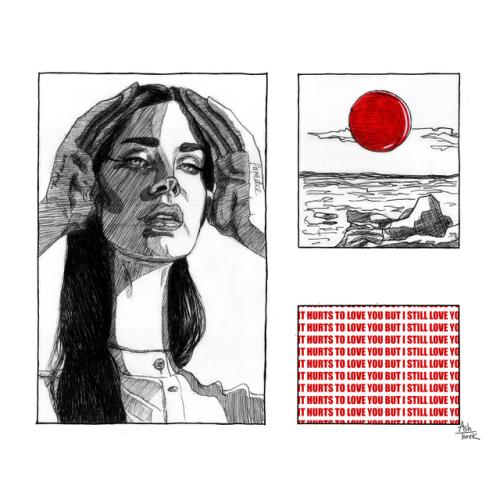 lana del rey lust for life art ink red 13 beaches l4l arte illustration queer artist ash tarek lanadelrey