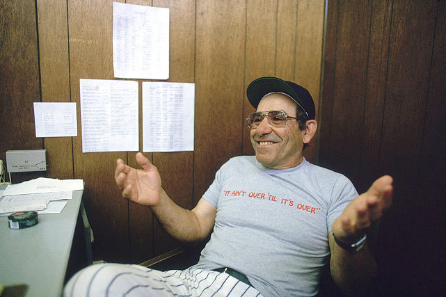 Yogi Berra, wearing one of his most famous sayings on his shirt, poses for SI photographer Walter Iooss Jr. in 1984. (Walter Iooss Jr./SI) GALLERY: Classic Photos of Yogi Berra