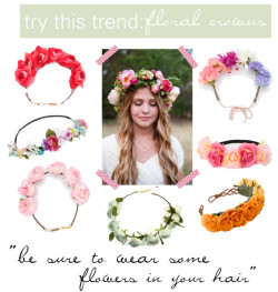 try this trend: floral crowns por lapetitefashionistablog usando floral hair accessories ❤ liked on PolyvoreAccessorize flower jewelry / Floral hair accessory / Cult Gaia floral hair accessory / Hair accessory / Cult Gaia floral hair accessory / Bohemian hair accessory, $55 / BABY BLUE BELLE ROSE BLOOM CROWN. / pink polka dot washi tape, $6.06