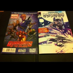 My Free Comic Book Day loot :D Guardians of the Galaxy and Mass Effect! #freecomicbookday #fcbd #marvel #darkhorse #masseffect #guardiansofthegalaxy #geek #comic #loot
