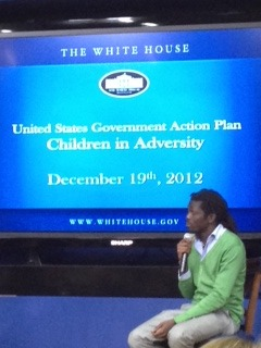 "Earlier this week, I attended the launch of the U.S. government's Action Plan on Children in Adversity, held in Washington, D.C. Emmanuel Jal, a former ""Lost Boy of Sudan"" and now a musician, performed a disquieting word song (it's like a poem set to music), titled ""Forced to Sin."" In this song, he spoke about being so hungry as a boy that he once contemplated eating his friend (but did not) who had died from malnutrition. It was very powerful. Afterwards he said, ""Music is a painkiller for me. It's where I get lost and become a child again."""