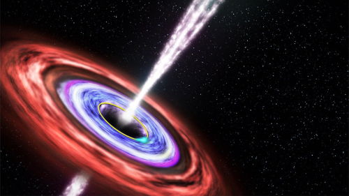 "Black Holes Spew Out Surprise     Black holes come in a variety of sizes, ranging from 10 times the mass of the sun to a billion times as massive. But new research shows that black holes of completely different masses, ages and locations can produce jets of ionized gas that behave similarly.      Image: This illustration shows a black hole emitting jets of fast-moving plasma above and below it, as matter swirls around in an orbiting disk. Credit: NASA's Goddard Space Flight Center       ""As scientists, we are always seeking universal principles,"" Rodrigo Nemmen, of NASA's Goddard Space Flight Center in Greenbelt, Md., told SPACE.com.      Nemmen and his colleagues studied a wide variety of black holes in an attempt to compare how efficiently their jets emitted light. ""I was very surprised,"" Nemmen said of the results.      Discovering similarities between ancient supermassive black holes in the center of distant galaxies and baby black holes born as stars collapse should help scientists gain a firmer understanding of these jets.      Cosmic accelerators      Black holes are well known for their ability to pull matter into them. But not all material near a black hole finds itself lost. Some bits of matter just outside the point of no return (called the event horizon) are accelerated away at near-light speeds, creating jets of particles shooting out above and below the black holes.      ""I like to call black holes 'cosmic LHCs,' or very powerful particle accelerators,"" Nemmen said, referring to the Large Hadron Collider, an underground machine in Switzerland that speeds protons to 99.9999991 percent the speed of light.      When matter is spun away from a black hole in the form of a jet, most of its energy goes into its motion, but some of it is changed into light in the form of gamma-rays. Nemmen and his team studied findings on 293 previously observed black holes and calculated how efficiently the jets converted energy to light. They found that the rate scaled across the range of black holes.      ""This was one of the surprises of this work, that this efficiency of conversion of the energy into light is essentially the same for black holes with very different masses, very different ages and completely different environments,"" Nemmen said.      Black holes are powerful beasts, interesting in and of themselves. But by accelerating ionized gas, they also have the potential to change their environment. Heating up space, they could affect the production of new stars, thereby influencing the galaxy they live in.      ""These jets might be powerful agents of creating changes in the host galaxy,"" Nemmen said.      Scientists still don't have a strong understanding of how these violent particle outflows form. But the fact that the energy efficiency of the jets scales across black holes may help theorists better understand how something that pulls in most particles could shoot away others, and how the outflow of energy may affect surrounding space.      The findings were published online today (Dec. 13) in the journal Science."