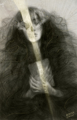 "rfmmsd:  Illustrator & Artist: Rovina Cai ""Buried With Her Tresses"" 2013   ""Elizabeth Siddal was a poet, painter, Pre-Raphaelite muse, and wife of Dante Gabriel Rossetti.""""When she died of a laudanum overdose in 1862, Rossetti buried a notebook of his poems with her. Years later when her coffin was exhumed, it is said that her corpse was remarkably well preserved, and that the book of poems was tangled in her long coppery tresses, which had continued to grow after her death.""""I recently saw a fantastic exhibition of Pre-Raphaelite paintings at the National Gallery of Art in Washington DC [link]. It has been providing me with inspiration for the past couple of months. It's open until mid-May (I think) & I would highly recommend it for anyone who loves Victorian painting, fantasy art or a penchant for the tragic"""