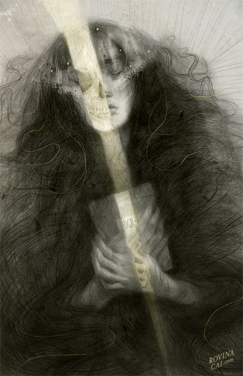 "Illustrator & Artist: Rovina Cai ""Buried With Her Tresses"" 2013 ""Elizabeth Siddal was a poet, painter, Pre-Raphaelite muse, and wife of Dante Gabriel Rossetti.""""When she died of a laudanum overdose in 1862, Rossetti buried a notebook of his poems with her. Years later when her coffin was exhumed, it is said that her corpse was remarkably well preserved, and that the book of poems was tangled in her long coppery tresses, which had continued to grow after her death.""""I recently saw a fantastic exhibition of Pre-Raphaelite paintings at the National Gallery of Art in Washington DC [link]. It has been providing me with inspiration for the past couple of months. It's open until mid-May (I think) & I would highly recommend it for anyone who loves Victorian painting, fantasy art or a penchant for the tragic"" Via rfmmsd:"
