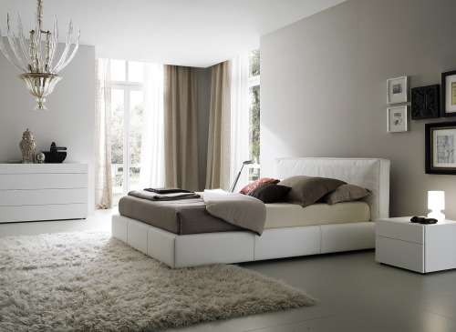 Trendy Design Modern Bedroom With White Furniture And Chandelier