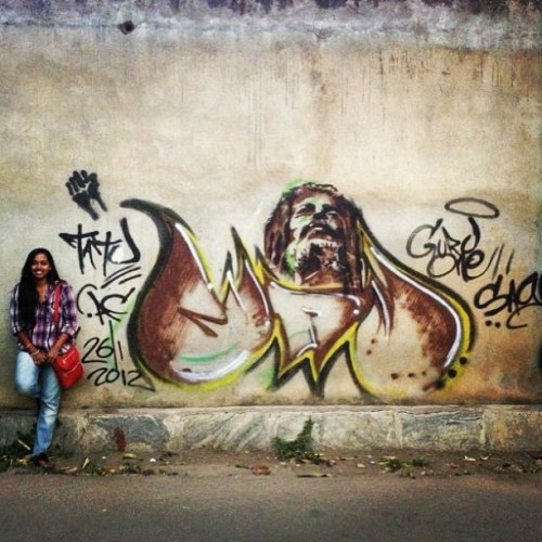 Fat joe didn't fit in the picture! Ha! #streetart #graffiti #bangalore  (at Rest House Crescent)