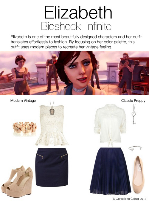 Inspired by Elizabeth from Bioshock: Infinite I couldn't choose which style to do, so I did both! Modern Vintage: Top: Dorothy Perkins - Laser Cut Flowers Top, $58 / Skirt: Zalando - Mini Skirt, $45 / Shoes: Boohoo Mia Nude Suedette Wedges, $50 / Bracelet: Oasis - Flower Stretch Bracelet, $22 / Necklace: Amazon - Crystal Studded Cameo, $12 Classic Preppy: Top: Tilly's - Full Tilt Tie Front Top, $28 / Zalando - Pleated Skirt, $220 / Shopbop - Michael Kors Odell Ballet Flat, $185 / Ebay - Stainless Steel Heart Key Pendant, $25 / Nelly - Bird Bracelet, $20
