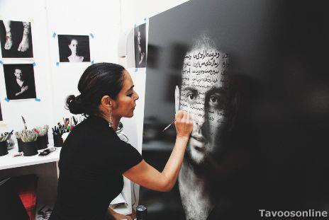 a photo of Iranian artist Shirin Neshat writing on my face, a piece from her recent series book of kings.