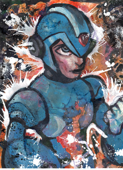 jeffbertrand:  Mega man mixed media on 8x11 acid free paper Bertrand/2013