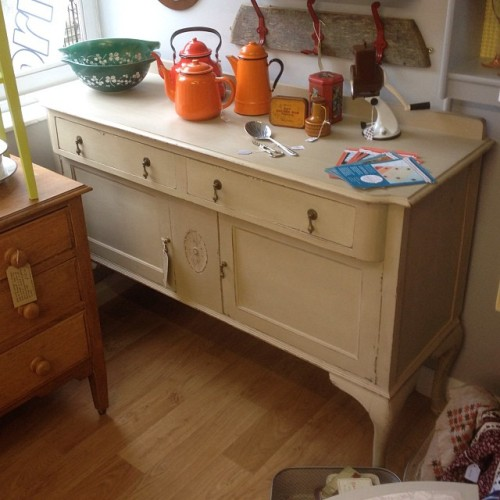 Now just £195 - beautiful vintage sideboard in #anniesloan Country Grey. See it for yourself upstairs at @lollyrocket, Gold Street, #Kettering #Northants Delivery available #vintage #sideboard #vintagefurniture #interiors #furniture #paintedfurniture #shabbychic