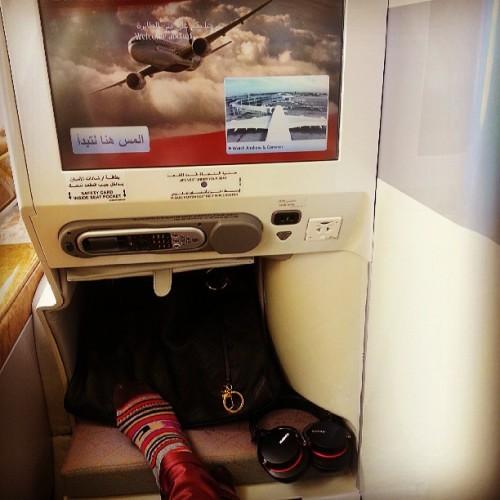 The #Emirates socks are cute but I'll pass and keep my @stancesocks on for the next 15 hrs. Ready for Dubai 👍✈ @ericayary @theotisb #stancesteez #stancesocks
