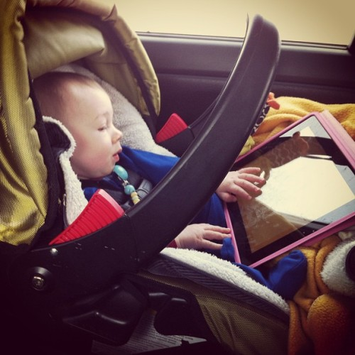 Fussy Baby after an entire day in the car + Fisher-Price apps + Mickey Mouse Clubhouse episodes on YouTube = happy baby #roadtrips #disney #youtube  (at QE2)