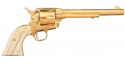 Factory Engraved Gold Plated Colt Second Generation Single Action Army Revolver with Bone Grips