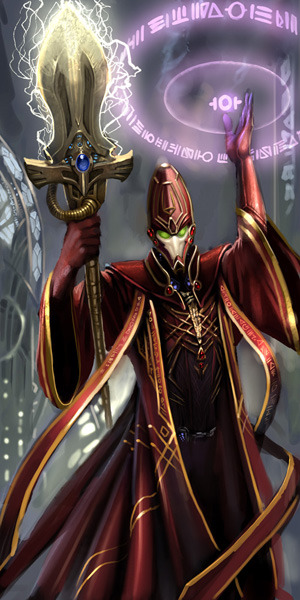 gorecoveredrampager:  An Eldar Farseer utilising his eldritch powers