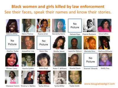thepoliticalfreakshow:  African-American Girls & Women Killed By Police: Speak Their Names. See Their Faces. Know Their Stories. There is this false myth going around that Black women are not victims of police violence. I believethe myth exists because quite frankly the media, social justice organizations and wethe public tend not to focus on it. It is a self-fulfilling prophecy.I hopethis post willmake all of uschange our minds.Here are the stories of some of the Black women and girls killed by law enforcement: Adaisha Miller, Detroit Woman, Hugged Cop From Behind LAPD cop charged with assault in death ofAlesia Thomas 7-year- oldAiyana Stanley-Jones – Detroit Free Press 17 YearOld Darnesha Harris Dead after Run-In with Breaux Mackala Ross and Delores Epps Eleanor Bumpurs EricaCollins family files lawsuit against Cincy Police Pleasant Grove crash claims life of second person|AL.com(Heather Parker) Family grieves after loved one killedin crash with APD(Jacqueline Culp) Family of victim question police use of deadly force – KWCH(Karen Day) Kendra Jamesremembered at Portland rally |KOIN.com Pedestrian Killed on I-95 in Florida(Laporsha Watson) After Cleveland shooting, cities restrict policechases(Malissa Williams) Miriam Carey, Capitol Suspect, SufferedPost-Partum Depression Elderly Woman Shot & Ki