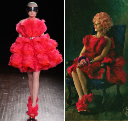 Effie Trinket's outfit inspired by Alexander McQueen (x) #CatchingFire