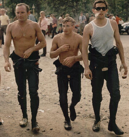 1967 Finnish Grand Prix: Mike Hailwood, Bill Ivy and Phil Read.