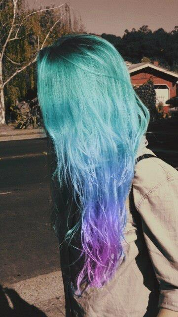blue turquoise purple hair long hairstyle creativity