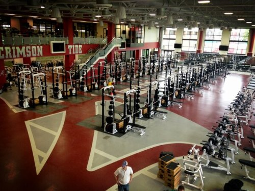 "usatodaysports:  Here's a look at Alabama's new weight room.  @PaulMyerberg: Because I watch the Tide and think, ""Man, these guys need to be stronger and faster.""  (via @mtinney43)"