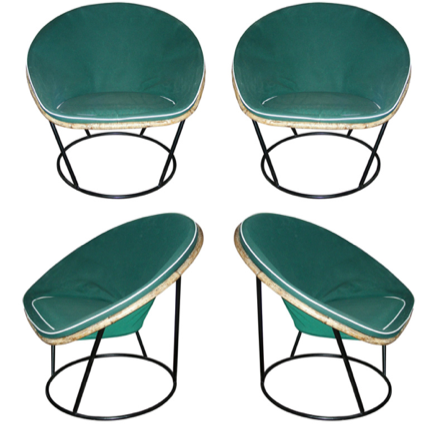 Slouchy French sun chairs, 1950