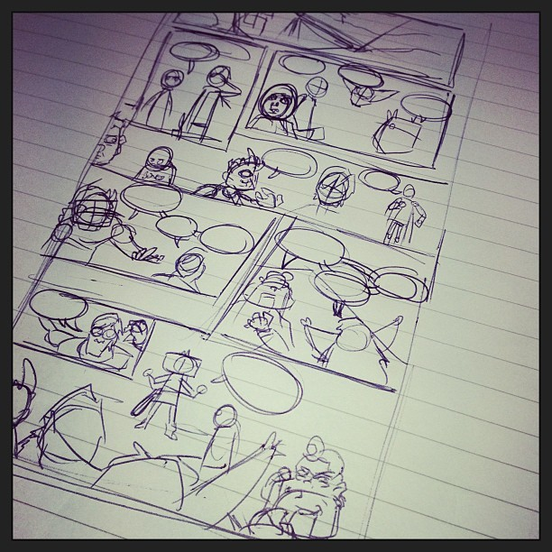 After a few weeks off #LittleTerrors #3, I return to it. Roughing out pages over my lunch. #makecomics
