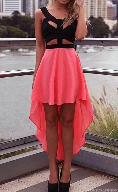 xoglitzandglamour:  Black and peach high low cut dress