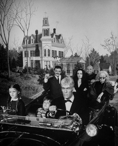 The Addams Family on a jaunty drive (1965)