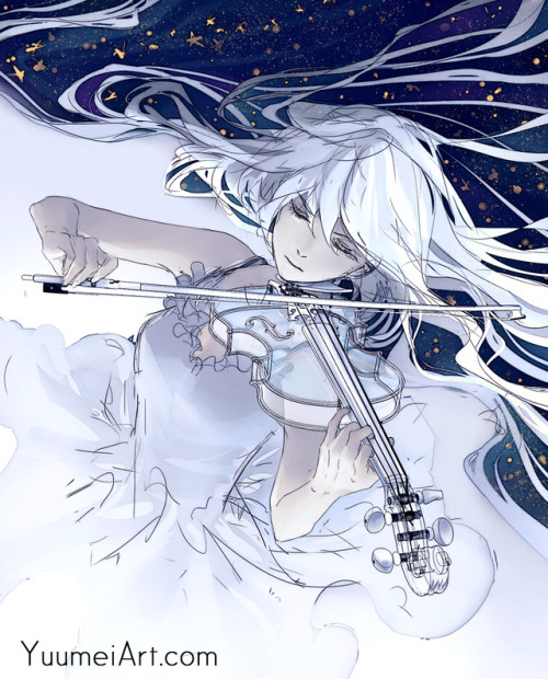glass violin glass instrument violin violinist music anime anime girl yuumei