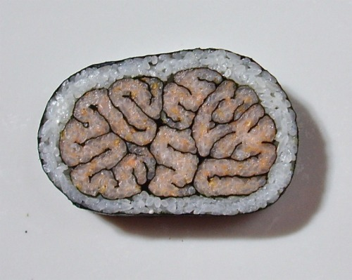 jtotheizzoe:  eyewire:  Smart sushi via @jgold85. Play a game to map the brain at http://eyewire.org/.  This is a uni-que way to symbolize nori-ons.